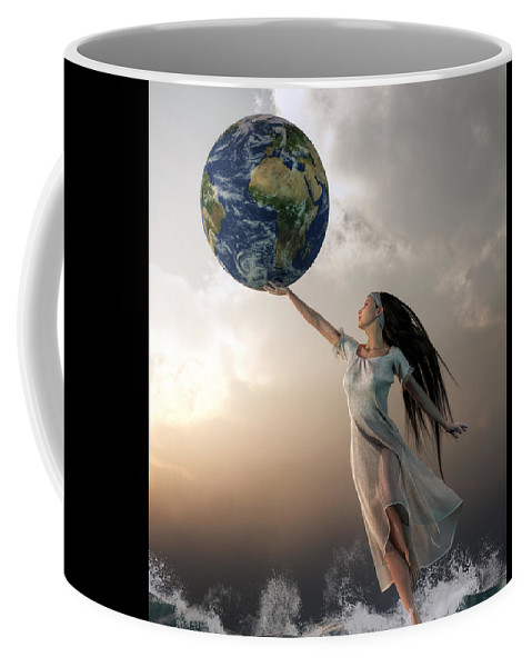 Gaia Coffee Mug featuring the digital art Gaia by Daniel Eskridge