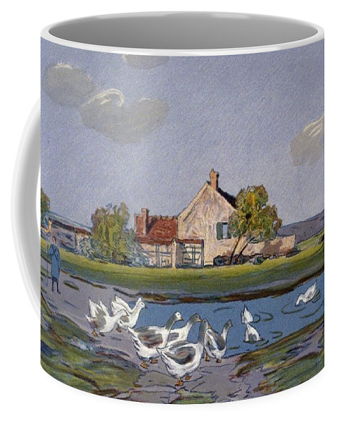Alfred Sisley Coffee Mug featuring the painting Geese, 1897 by Alfred Sisley