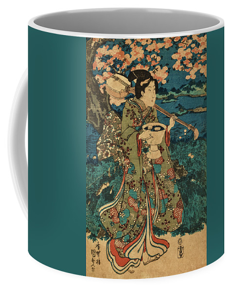Party Coffee Mug featuring the painting Going To A Cherry Blossom Viewing Party by Utagawa Kunisada