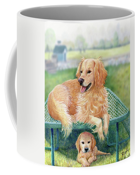 Golden Retriever Coffee Mug featuring the drawing Golden Retriever Portrait by Marilyn Smith