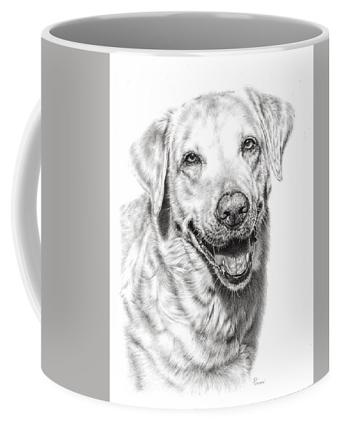 Dog Coffee Mug featuring the drawing Golden Retriever by Remrov