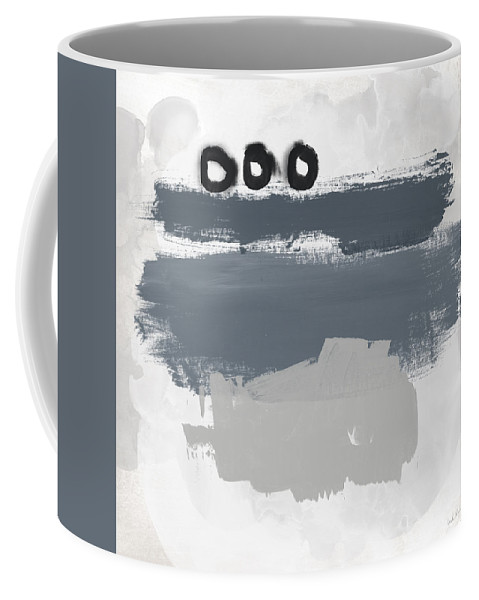 Abstract Coffee Mug featuring the mixed media Grayscale 1- Abstract Art By Linda Woods by Linda Woods