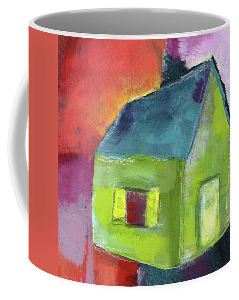 House Coffee Mug featuring the painting Green House- Art By Linda Woods by Linda Woods