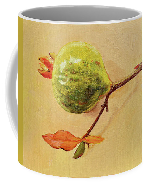 Fruit Coffee Mug featuring the painting Green Pomegranate by Dai Wynn