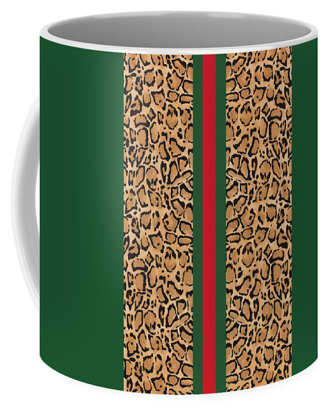 Gucci Print Coffee Mug featuring the painting Gucci Leopard Print-1 by Nikita