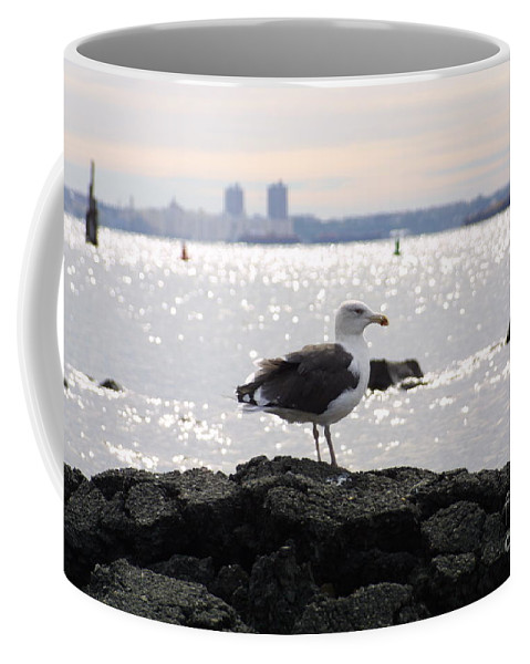 Lone Gull Stands On Rock Coffee Mug featuring the photograph Gull Isle II by Darren Dwayne Frazier