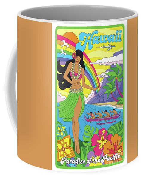 Hawaii Coffee Mug featuring the digital art Hawaii Poster - Pop Art - Travel by Jim Zahniser