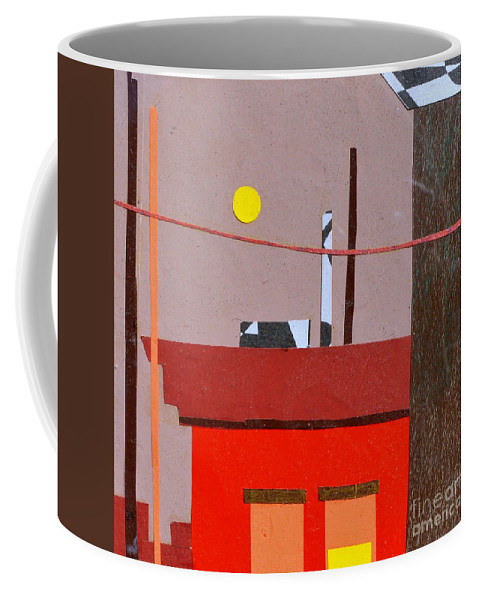 City Coffee Mug featuring the mixed media Hazy Rooftops 2 by Debra Bretton Robinson