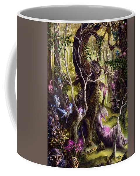 Faery Coffee Mug featuring the painting Heist Of The Wizard's Staff by Curtiss Shaffer