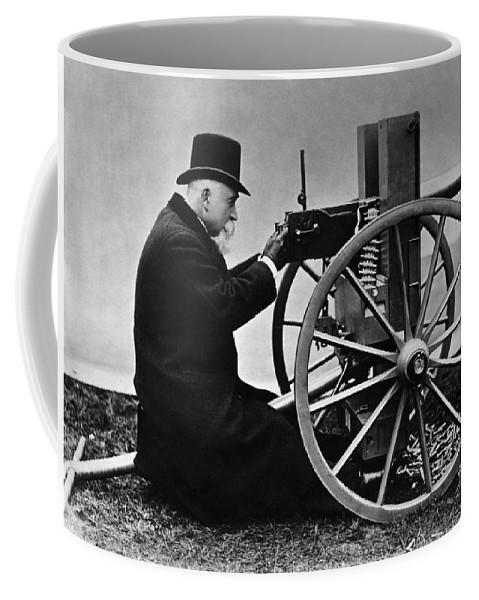 Maxim Machine Gun Coffee Mug featuring the photograph Hiram Maxim Firing His Maxim Machine Gun - 1884 by War Is Hell Store