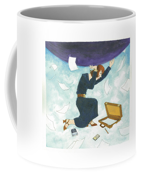 Captionless Coffee Mug featuring the drawing Holding the World by WB Park