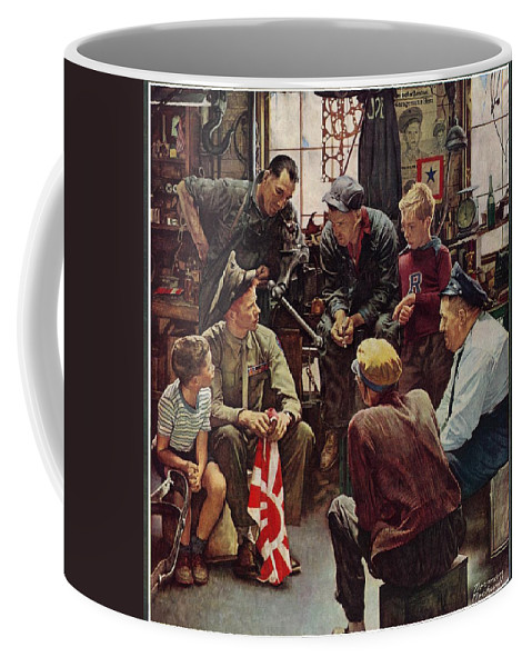 Flags Coffee Mug featuring the drawing Homecoming Marine by Norman Rockwell