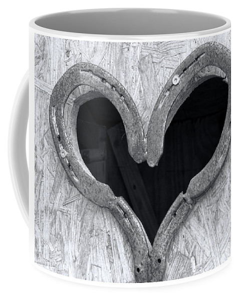 Outhouse Coffee Mug featuring the photograph Horseshoe Heart by Elisabeth Lucas
