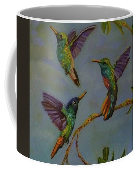 Wild Life Coffee Mug featuring the painting Humming Birds by Janet Silkoff