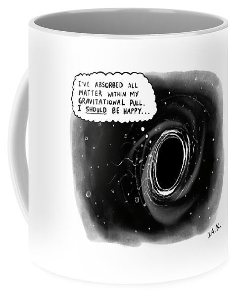 Captionless Coffee Mug featuring the drawing I Should Be Happy by Jason Adam Katzenstein