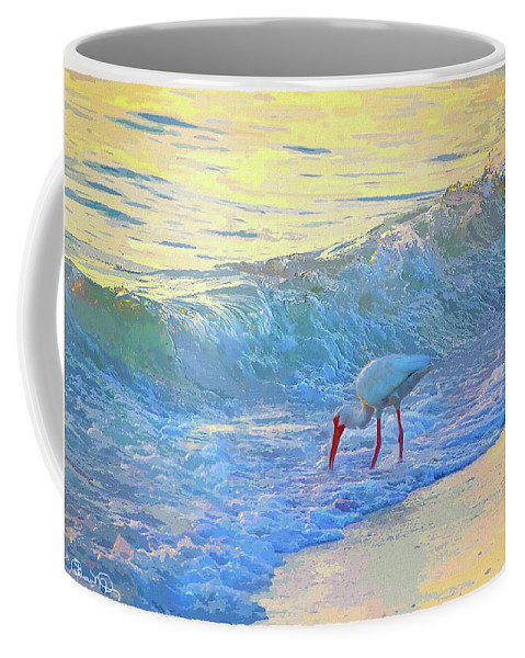 Susan Molnar Coffee Mug featuring the photograph Ibis In Gold And Purple Surf 2 by Susan Molnar