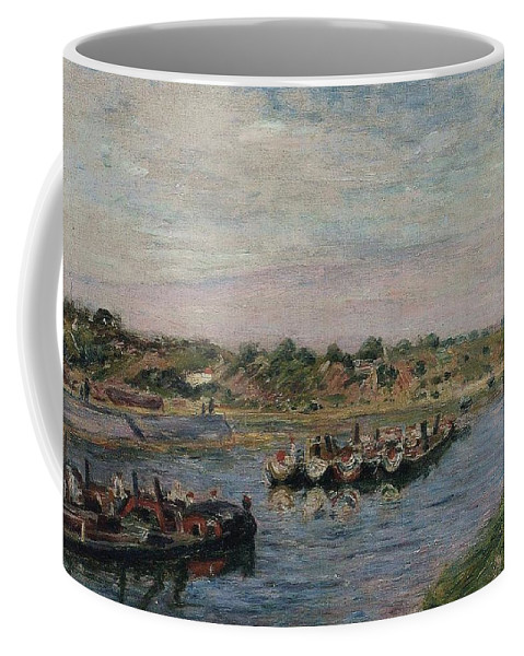 Alfred Sisley Coffee Mug featuring the painting Idle Barges On The Loing Canal At Saint-mammes by Alfred Sisley