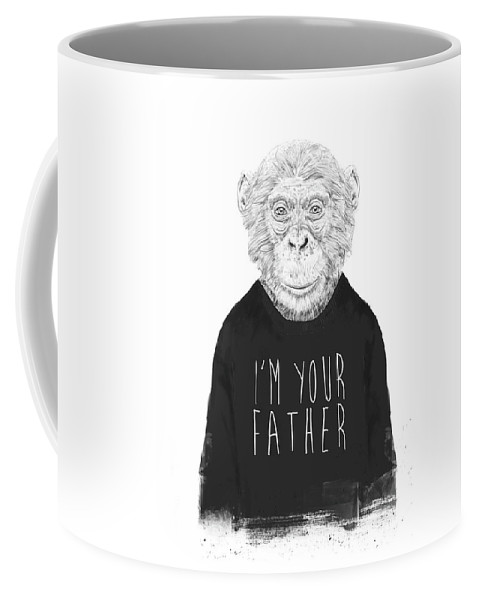 Monkey Coffee Mug featuring the mixed media I'm Your Father by Balazs Solti