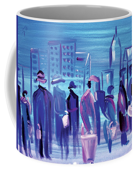 Arcrylic Coffee Mug featuring the painting In Line CLE by JoAnn DePolo