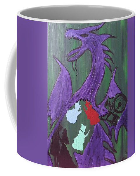 Coffee Mug featuring the painting In The Belly Of The Dragon by Jessica Moore