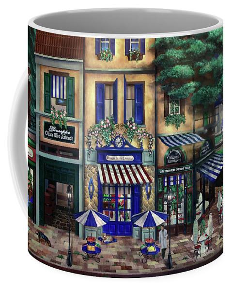 Italian Coffee Mug featuring the mixed media Italian Cafe by Curtiss Shaffer