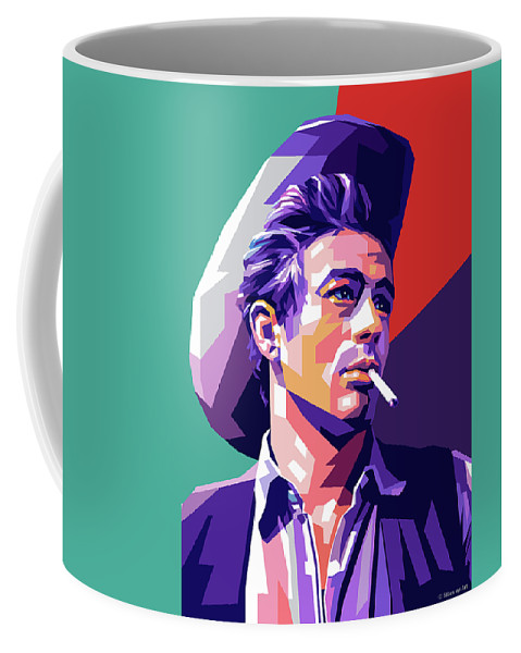 James Coffee Mug featuring the digital art James Dean Portrait by Stars on Art