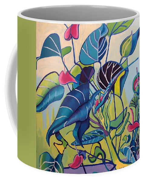 Jungle Coffee Mug featuring the painting Jens Jungle by Debra Bretton Robinson
