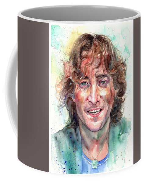 John Lennon Coffee Mug featuring the painting John Lennon Smiling by Suzann Sines