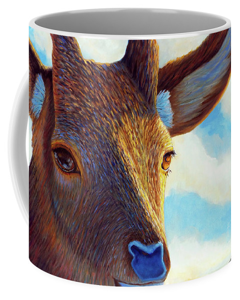 Deer Coffee Mug featuring the painting Johnny On The Spot by Brian Commerford
