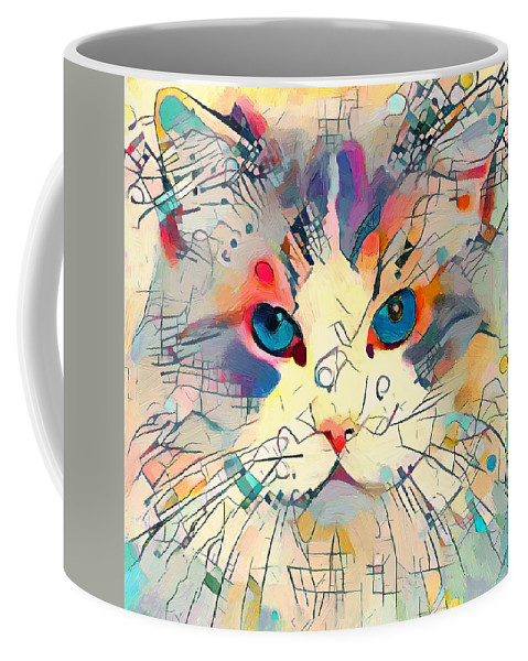 Kandinsky Coffee Mug featuring the digital art Kandinsky Cat 7 by Yury Malkov