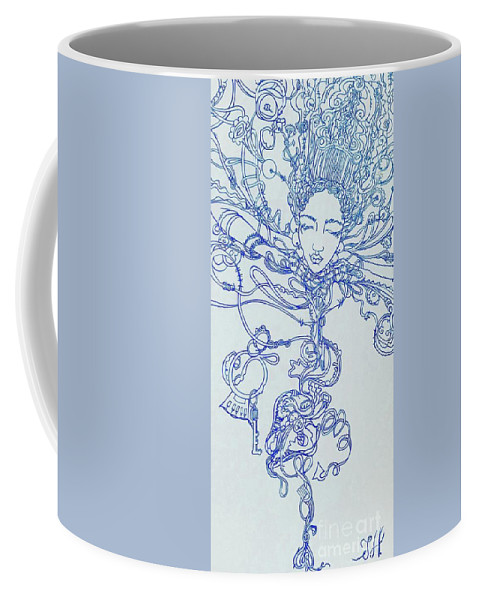 Coffee Mug featuring the painting Keys To The Garden by Judy Henninger