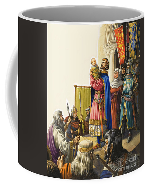 Soldier Coffee Mug featuring the painting King Edward I Presents His Baby Son by Michael Godfrey