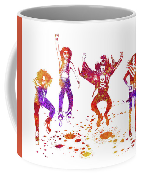 Kiss Coffee Mug featuring the painting Kiss Band Watercolor Splatter 01 by JESP Art and Decor