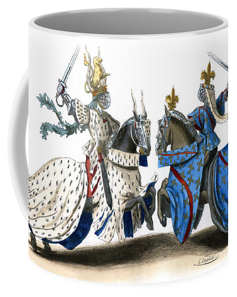 Knight Coffee Mug featuring the drawing Knights During A 14th Century Tournament, Wearing Full Armor by Unknown