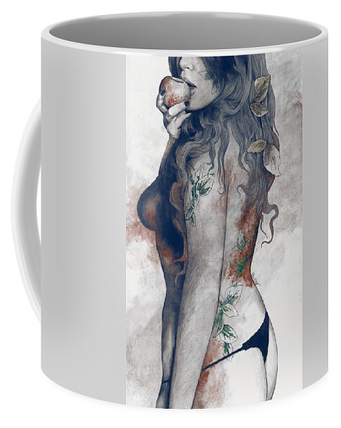 Thong Coffee Mug featuring the drawing Koi No Yokan - Blue Rust - Erotic Drawing, Sexy Tattoo Girl In Thong Biting An Apple by Marco Paludet