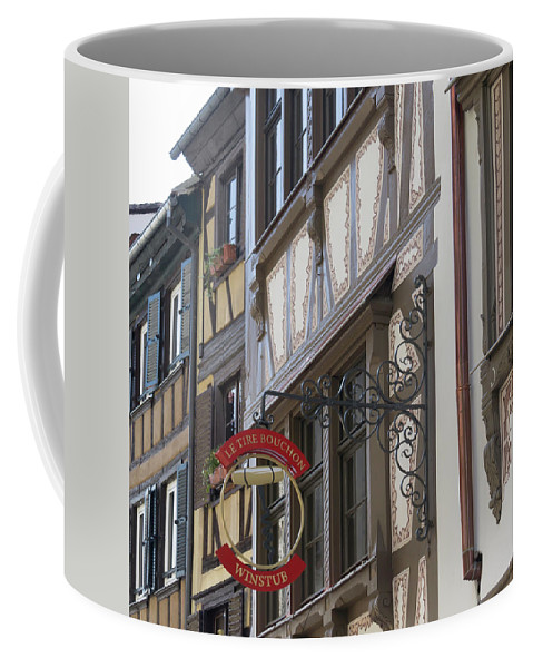 Alsace Coffee Mug featuring the photograph Le Tire Bouchon Winstub Sign by Teresa Mucha