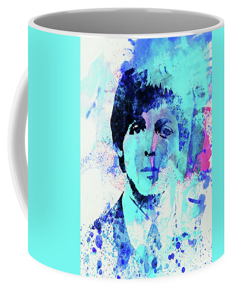 Beatles Coffee Mug featuring the mixed media Legendary Paul Watercolor by Naxart Studio