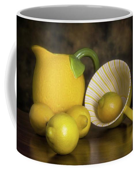 Lemon Coffee Mug featuring the photograph Lemons With Lemon Shaped Pitcher by Tom Mc Nemar