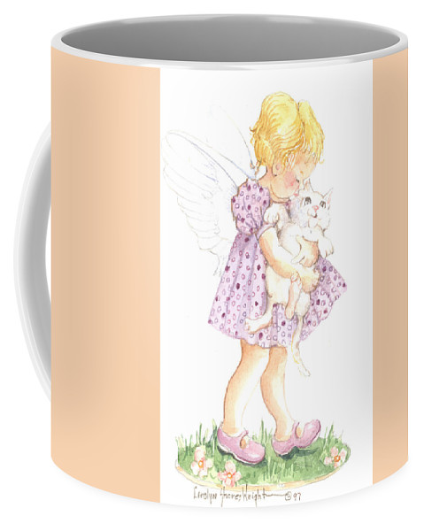 Cherub Coffee Mug featuring the painting Let's Walk by Carolyn Shores Wright