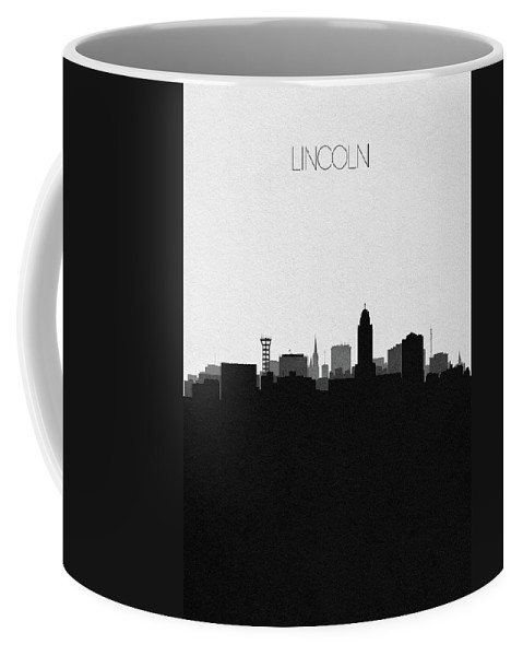 Lincoln Coffee Mug featuring the digital art Lincoln Cityscape Art by Inspirowl Design