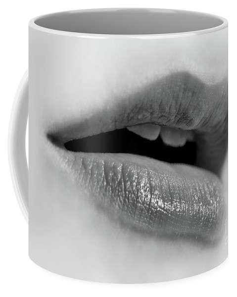 Lips Coffee Mug featuring the photograph Lips Black And White by Delphimages Photo Creations