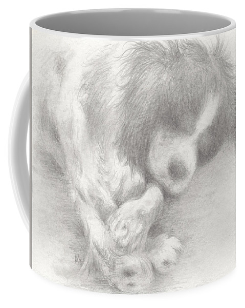 Dog Coffee Mug featuring the drawing Little Doggy Dreams by William Russell Nowicki
