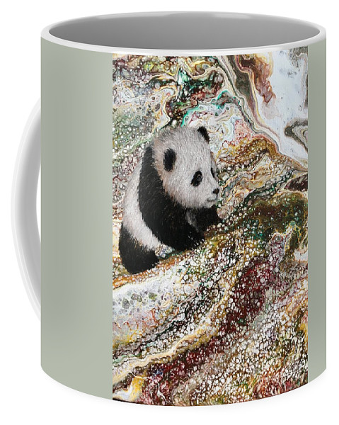 Panda Coffee Mug featuring the painting Little Panda2 by Francesca Kee