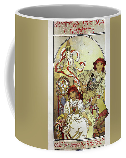 Alfons Maria Mucha Coffee Mug featuring the painting Local Exhibition In Ivancicich - Digital Remastered Edition by Alfons Maria Mucha