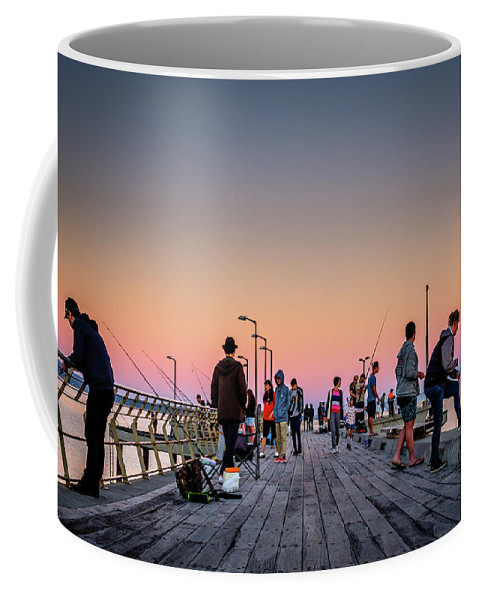 Fishing Coffee Mug featuring the photograph Lorne Pier by Artisanal Photo