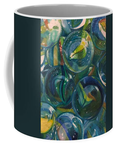 Marbles Coffee Mug featuring the drawing Losing My Marbles by Betsy Baughman