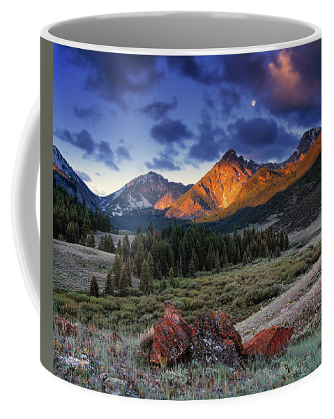 Idaho Scenics Coffee Mug featuring the photograph Lost River Mountains Moon by Leland D Howard