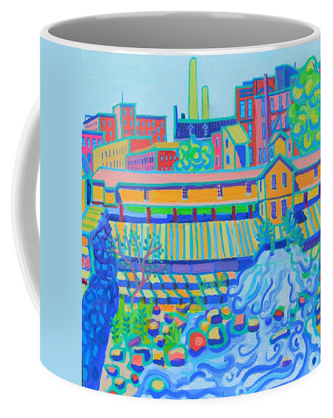 Locks Coffee Mug featuring the painting Lower Locks Lowell by Debra Bretton Robinson