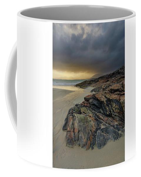 Luskentyre Beach Coffee Mug featuring the mixed media Luskentyre Sunset by Smart Aviation