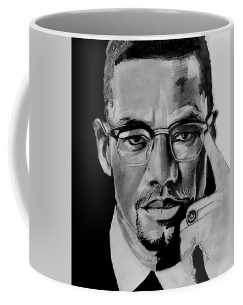 Malcom X Coffee Mug featuring the drawing Malcom X by Amber Harvin